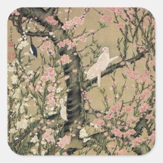 18. blüht 桃花小禽図, 若冲 Pfirsich u. kleine Vögel, Quadrataufkleber
