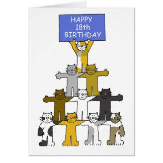 18. Geburtstag gefeiert durch Katzen Karte