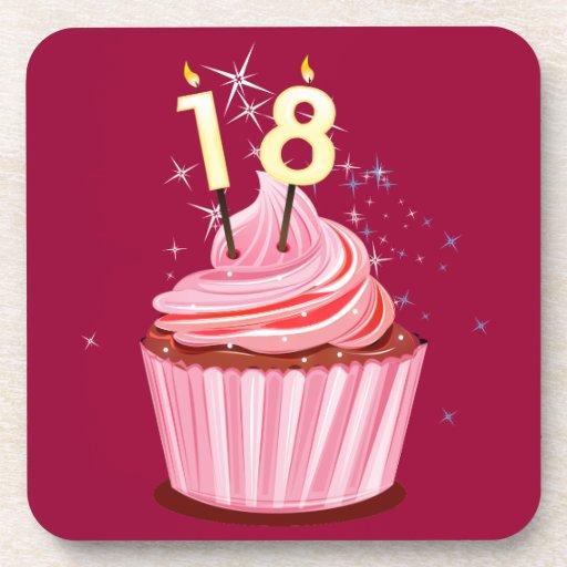 18 geburtstag rosa kleiner kuchen getr nk untersetzer for Kuchen 18 geburtstag