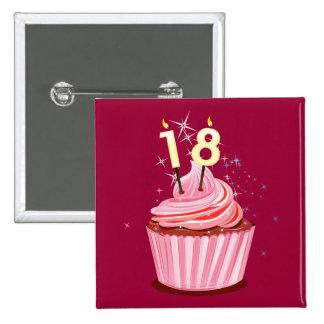 18. Geburtstag - rosa kleiner Kuchen Quadratischer Button 5,1 Cm
