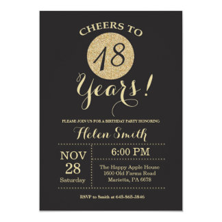 18. Geburtstags-Einladungs-Schwarzes und Karte