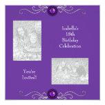 18. Geburtstags-Foto-Silber-lila Juwel Individuelle Einladungen