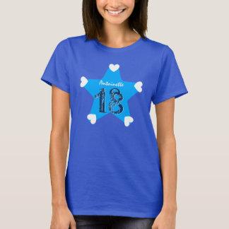 18. Geburtstags-Geschenk-großer Stern und Herzen T-Shirt