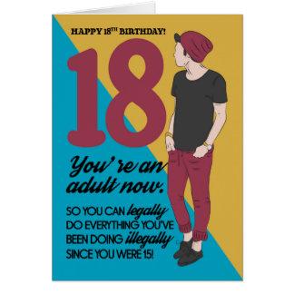 18. Geburtstags-Karte, Spaß und Trendy, Spaß Karte