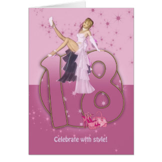 18. Geburtstags-Karten-Rosa