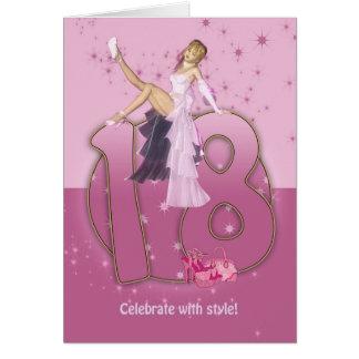 18. Geburtstags-Karten-Rosa Grußkarte
