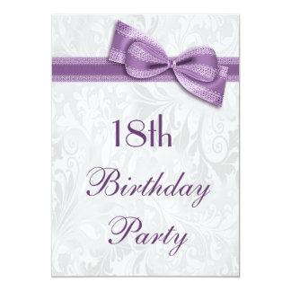 18. Geburtstags-Party-Damast und Imitat-Bogen 12,7 X 17,8 Cm Einladungskarte