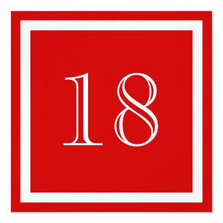 18. Geburtstags-Party Einladung - Rot