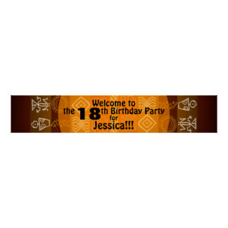 18. Geburtstags-Party-personalisierte Fahne 60x11 Poster