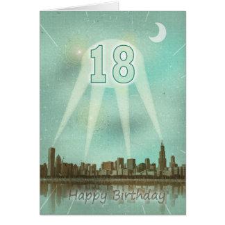 18. Geburtstagskarte mit einer Stadt und Grußkarte