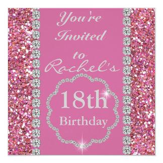 18. ROSA BLING Geburtstags-Party Einladung