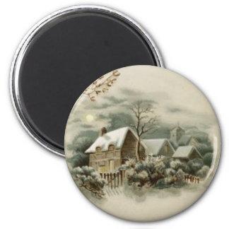 1900s Vintage Winter-Kabinen-Szene Runder Magnet 5,7 Cm