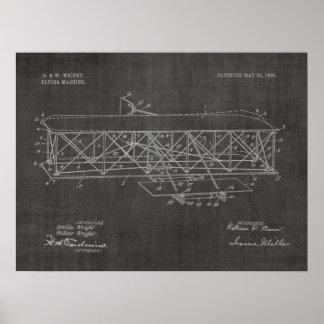 1906 Wright-Bruder-Flugzeug-Patent-Kunst-Zeichnen Poster