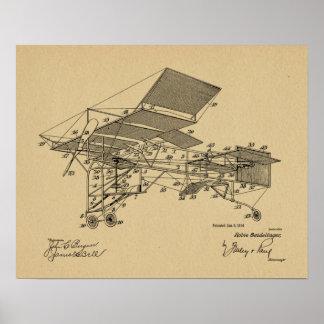 1914 Vintage Flugzeug-Patent-Kunst, die Druck Poster