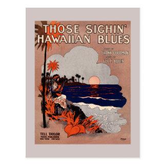 1916 Vintage Hawaii-Bluesblattmusikabdeckung Postkarte