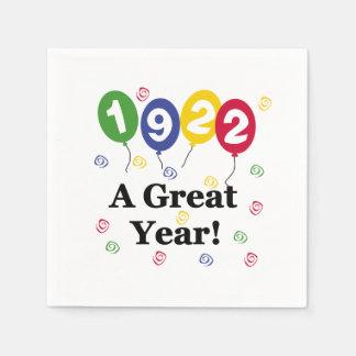 1922 ein großes Jahr-Geburtstags-Papierservietten Papierserviette