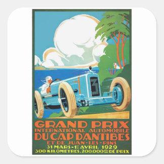 1929 Kappe D'Antibes Grandprix, der Plakat läuft Quadratischer Aufkleber