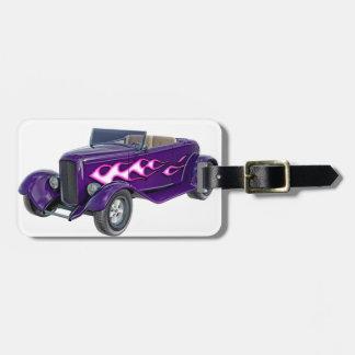 1932 lila Roadster mit Flamme Gepäckanhänger