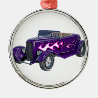 1932 lila Roadster mit Flamme Rundes Silberfarbenes Ornament