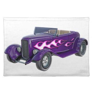 1932 lila Roadster mit Flamme Tischset