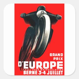 1939 Europäer-Grand- Prixmotorrad, das Plakat Quadratischer Aufkleber
