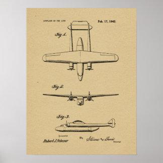 1942 Vintages Flugzeug-Patent, das Kunst-Druck Poster