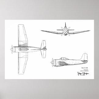 1946 Vintage Flugzeug-Patent-Kunst, die Druck Poster