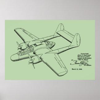 1946 Vintages Flugzeug-Patent, das Kunst-Druck Poster