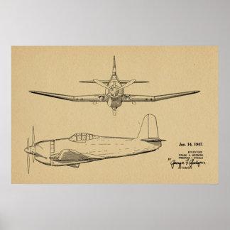 1947 Vintages Flugzeug-Patent, das Kunst-Druck Poster