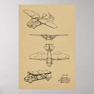 1949 fliegende Auto-Flugzeug-Patent-Kunst, die Poster