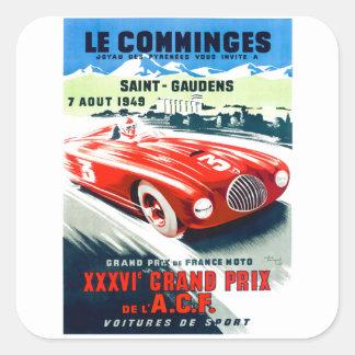 1949 Franzosen Grandprix, der Plakat läuft Quadratischer Aufkleber