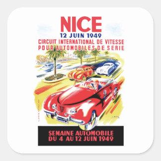 1949 Nizza Frankreich Stromkreis-Autorennen-Plakat Quadratischer Aufkleber
