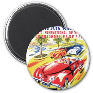 1949 Nizza Frankreich Stromkreis-Autorennen-Plakat Runder Magnet 5,1 Cm