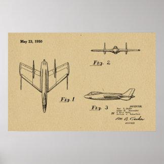 1950 Jet-Flugzeug-Patent, das Kunst-Druck zeichnet Poster
