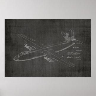 1950 Jet-Flugzeug-Patent-Kunst, die Druck zeichnet Poster