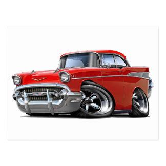1957 Chevy Belair Rot - frisiertes Auto Postkarte