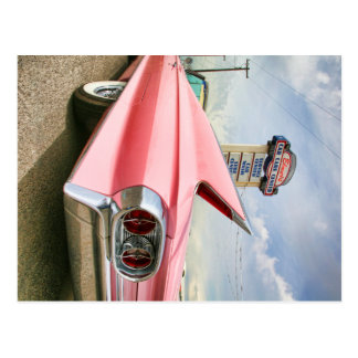1962 rosa Cadillac Kabriolett Postkarte