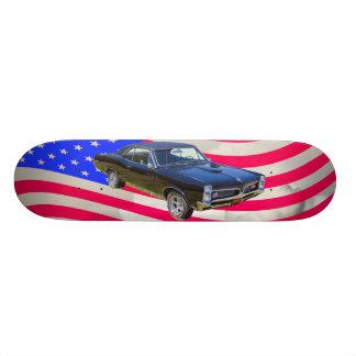 1967 Pontiac GTO und amerikanische Flagge 21,6 Cm Skateboard Deck