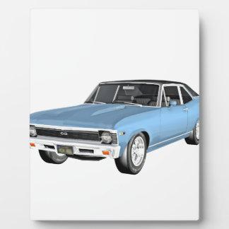 1968 hellblaue Muskel-Autos Fotoplatte