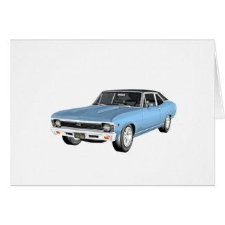 1968 hellblaue Muskel-Autos Karte