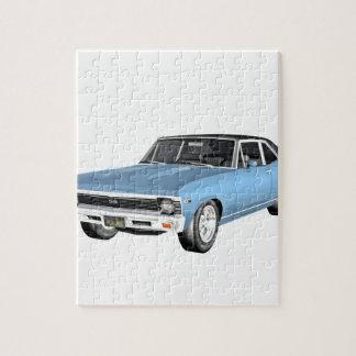 1968 hellblaue Muskel-Autos Puzzle
