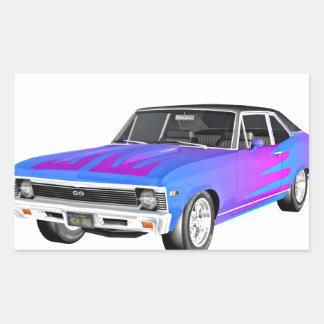 1968 morgens-Muskel-Auto in Lila und in Blauem Rechteckiger Aufkleber