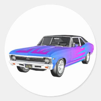 1968 morgens-Muskel-Auto in Lila und in Blauem Runder Aufkleber
