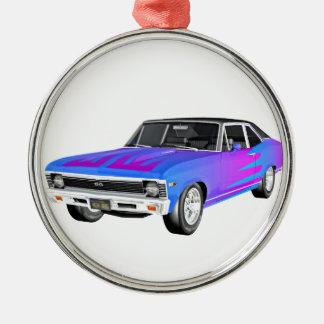 1968 morgens-Muskel-Auto in Lila und in Blauem Rundes Silberfarbenes Ornament