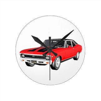 1968 Rot-Muskel-Auto Runde Wanduhr