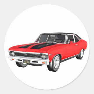 1968 Rot-Muskel-Auto Runder Aufkleber