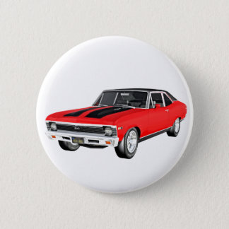 1968 Rot-Muskel-Auto Runder Button 5,7 Cm