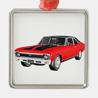 1968 Rot-Muskel-Auto Silbernes Ornament