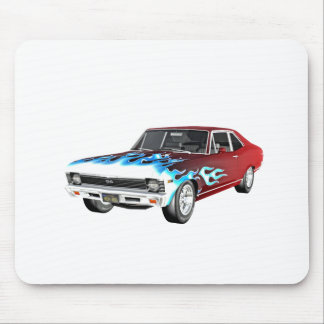 1968 rotes weißes und blaues Muskel-Auto Mousepad