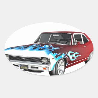 1968 rotes weißes und blaues Muskel-Auto Ovaler Aufkleber